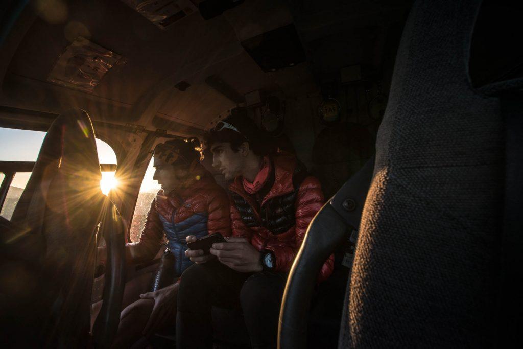 Núria Picas en el seu viatge en helicòpter. Foto: (c) Oriol Batista